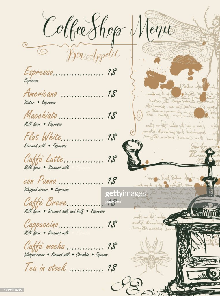 Coffee shop menu with price list and pictures