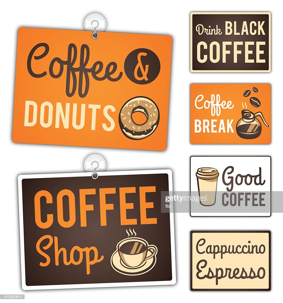 Coffee Shop Signs : stock illustration