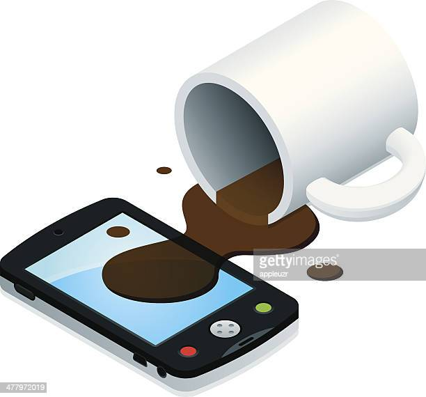 coffee spill on smartphone - spill stock illustrations, clip art, cartoons, & icons