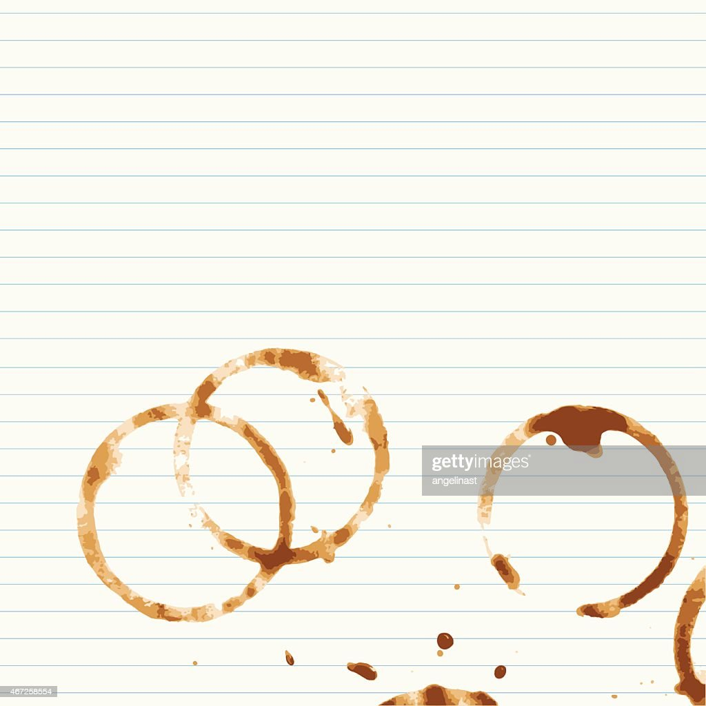 Coffee stains on lined paper