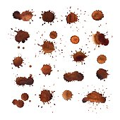 Coffee stains vector set