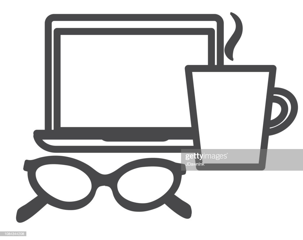 Coffee Study Icon Flat Line Art Outline Design Icon Set stock