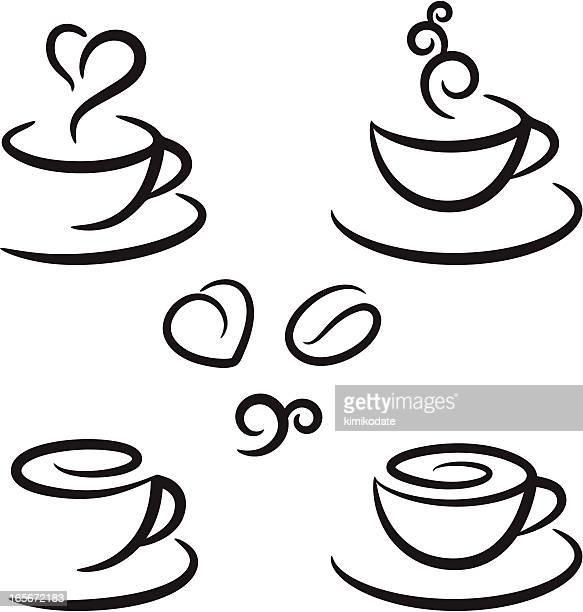 coffee symbols set - steam stock illustrations