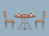 Coffee table and two chairs on a blue background