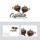 Coffee talk vector logo with business card template