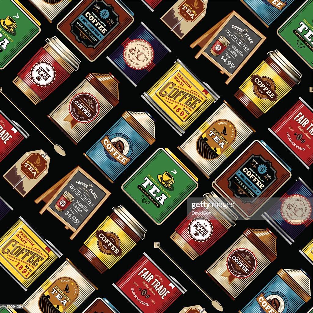 Coffee & Tea Item Seamless Pattern