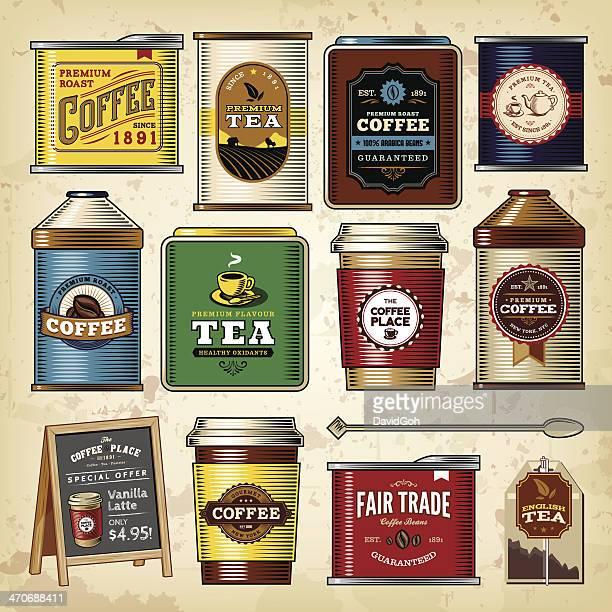 coffee & tea item set - packaging stock illustrations, clip art, cartoons, & icons