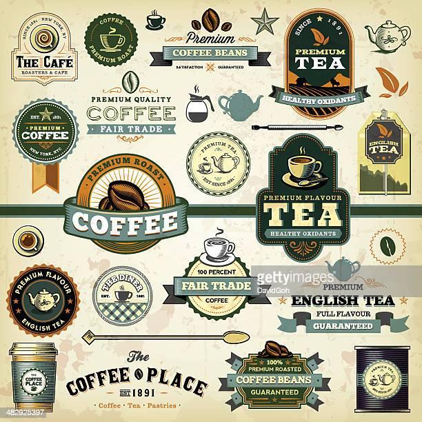 coffee & tea labels - hot drink stock illustrations, clip art, cartoons, & icons