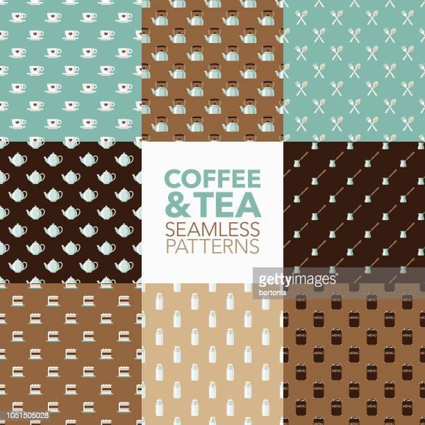 illustrazioni stock, clip art, cartoni animati e icone di tendenza di set di modelli senza cuciture coffee & tea - grande gruppo di oggetti