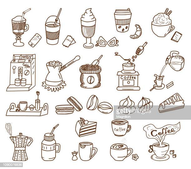 coffee theme doodle set - roasted coffee bean stock illustrations