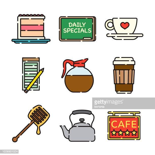 coffee thin line icon set - caffeine stock illustrations, clip art, cartoons, & icons