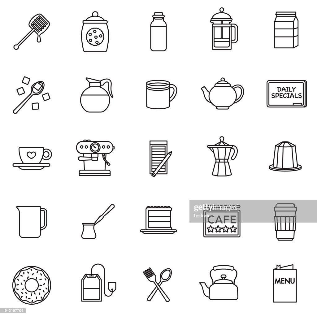 Coffee Thin Line Icon Set : stock illustration