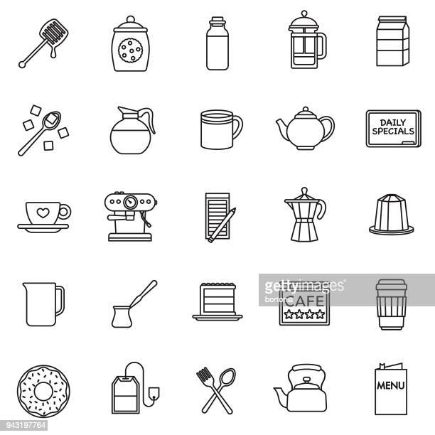 Coffee Thin Line Icon Set