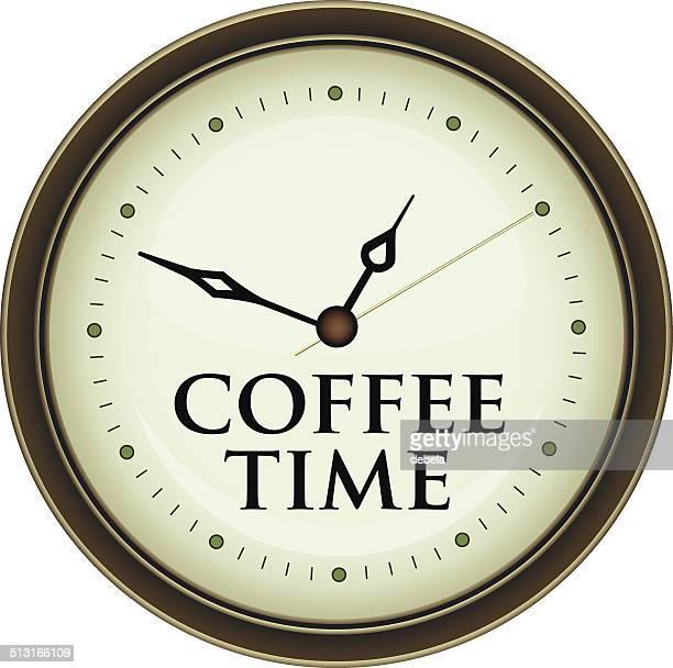 coffee time clock - tea room stock illustrations