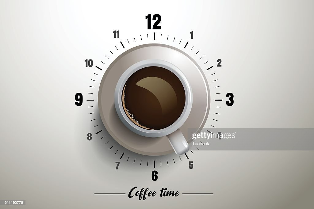 Coffee time design with clock concept