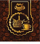 Coffee time label design over vintage background