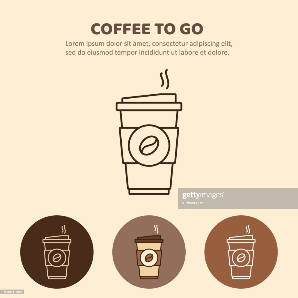 Coffee to go icon. Paper cup icon for web and graphic design