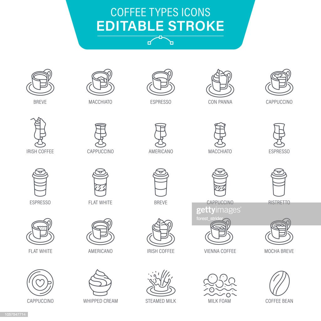 Coffee Types Line Icons