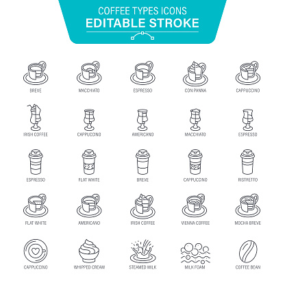 Coffee Types Line Icons - gettyimageskorea