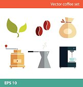 Coffee vector flat set