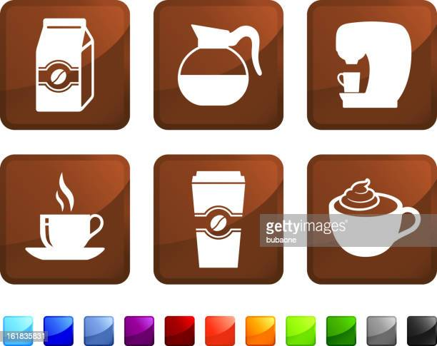 coffee vector icon set - brewery stock illustrations, clip art, cartoons, & icons