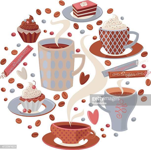 ilustraciones, imágenes clip art, dibujos animados e iconos de stock de café - chocolate caliente