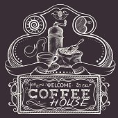 Coffee Vintage Illustration and Sign
