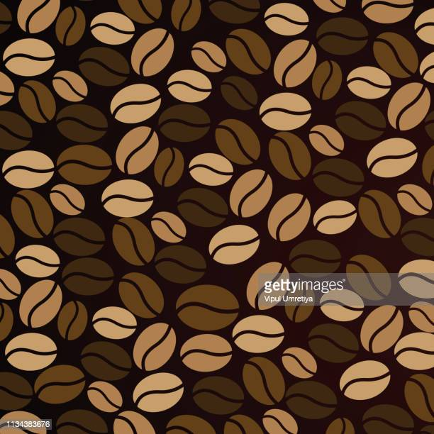 coffee wallpaper pattern - roasted coffee bean stock illustrations