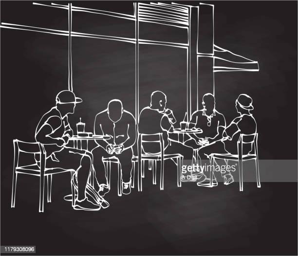 ilustrações de stock, clip art, desenhos animados e ícones de coffee with friends chalkboard - homens jovens