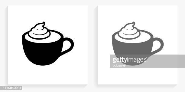kaffee mit whipped cream black and white square icon - sahne stock-grafiken, -clipart, -cartoons und -symbole
