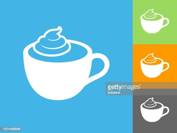 coffee with whipped cream flat icon on blue background - whipped cream stock illustrations, clip art, cartoons, & icons