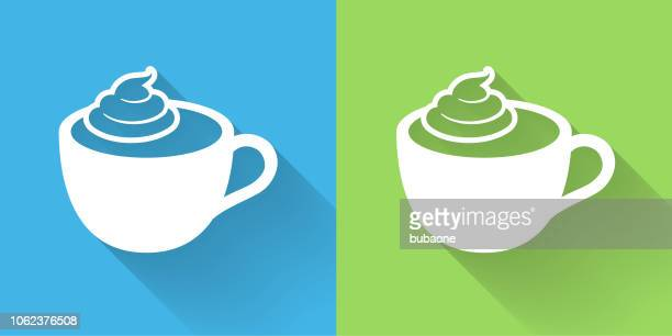 coffee with whipped cream icon with long shadow - whipped cream stock illustrations, clip art, cartoons, & icons