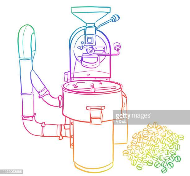 coffee-roasting - artisanal food and drink stock illustrations, clip art, cartoons, & icons