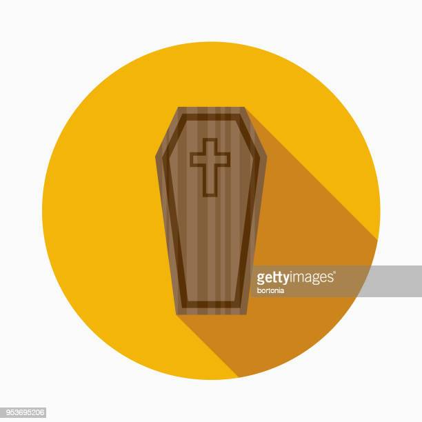 coffin flat design halloween icon with side shadow - buried stock illustrations, clip art, cartoons, & icons