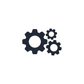 Cog Gear icon vector flat sign isolated on white