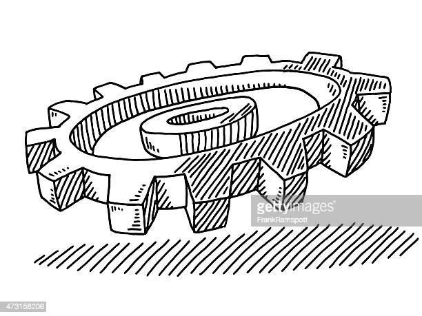 Cog Rad Industrie 3D-Symbol Abbildung