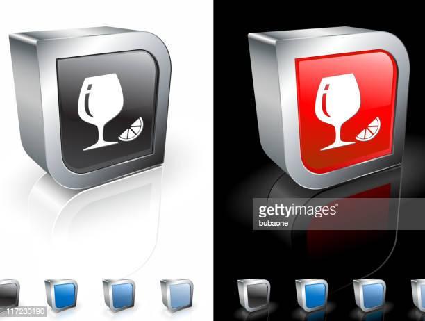 cognac glass with lemon 3d royalty free vector art - cognac region stock illustrations, clip art, cartoons, & icons