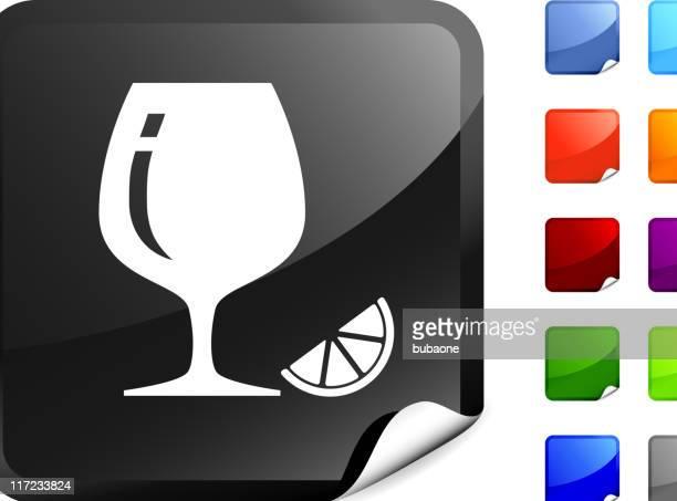 cognac glass with lemon internet royalty free vector art - cognac region stock illustrations, clip art, cartoons, & icons
