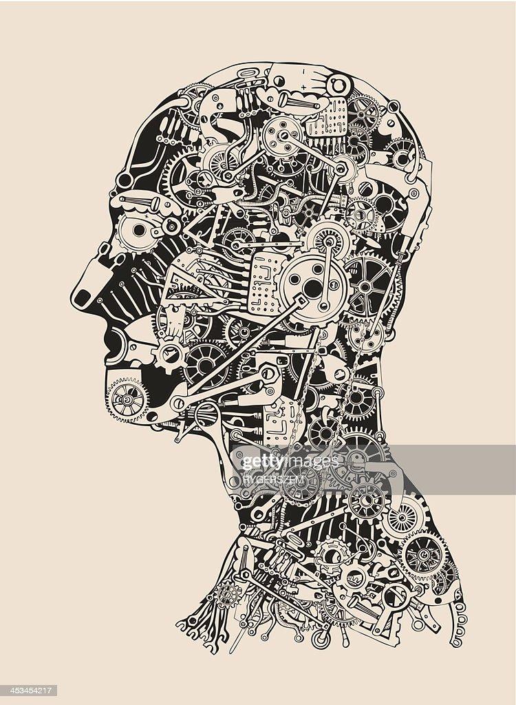 Cogs and Gears Human Head. Cyborg profile.