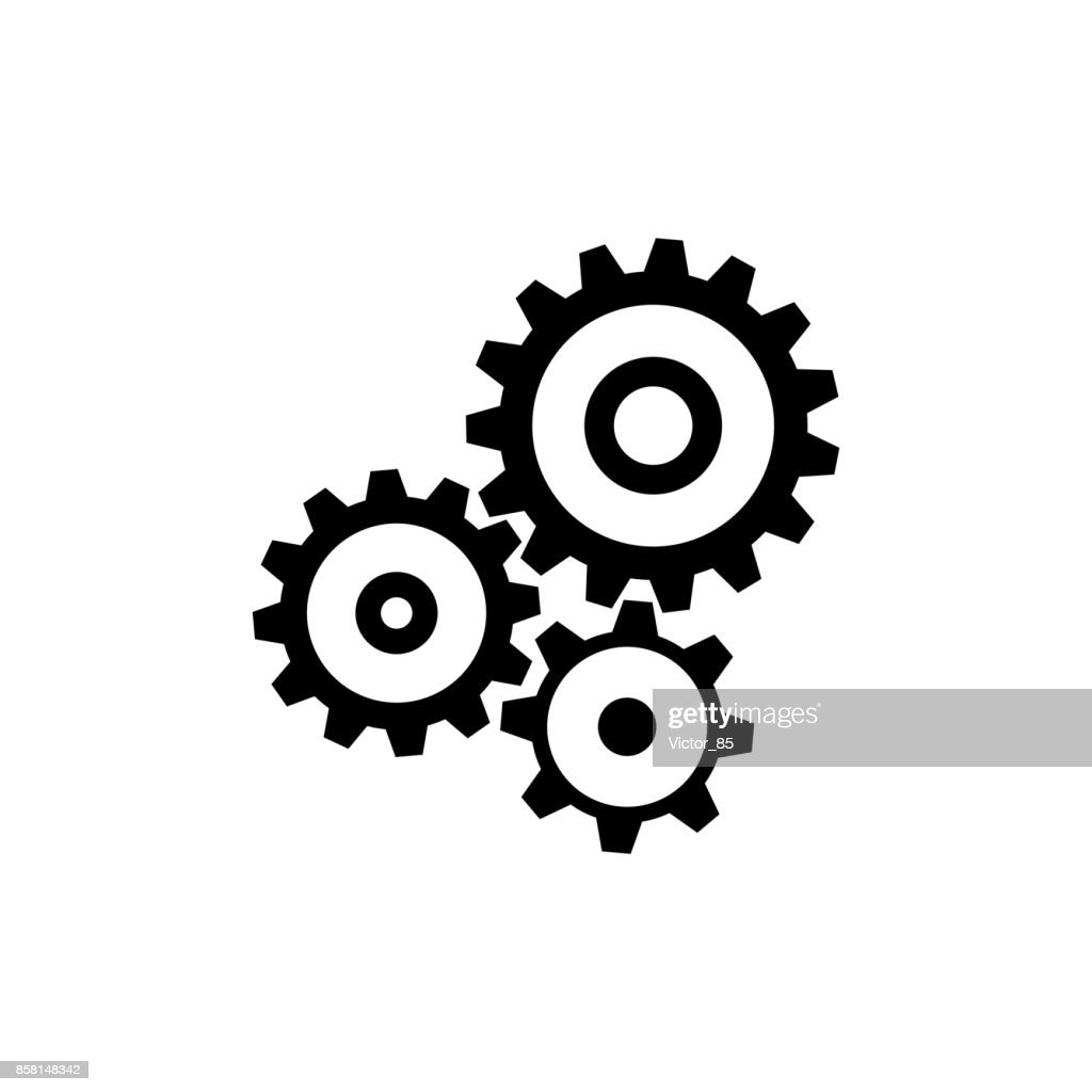 Cogwheel gear mechanism icon. Black, minimalist icon isolated on white background.
