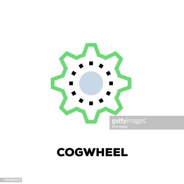 cogwheel line icon - gearshift stock illustrations, clip art, cartoons, & icons