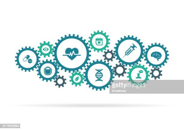 Cogwheels and medical icons