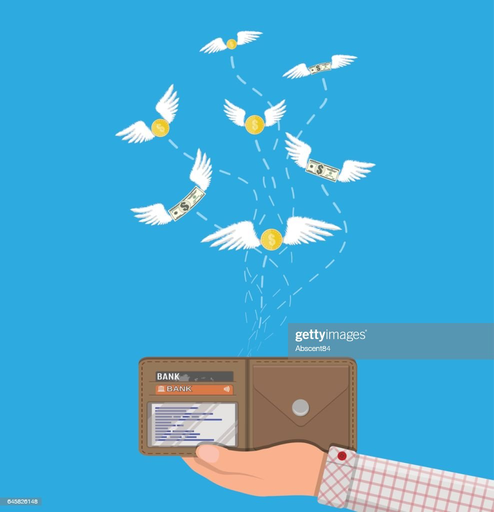 Coin and dollar bill flying over hand with wallet