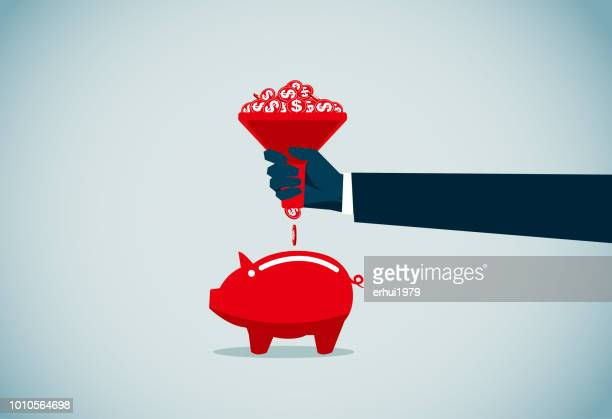 coin bank - funnel stock illustrations