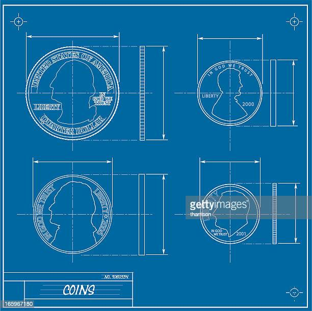 coin blueprint - thomas jefferson stock illustrations, clip art, cartoons, & icons