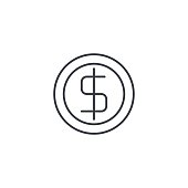 coin dollar, money, finance, currency thin line icon. Linear vector symbol