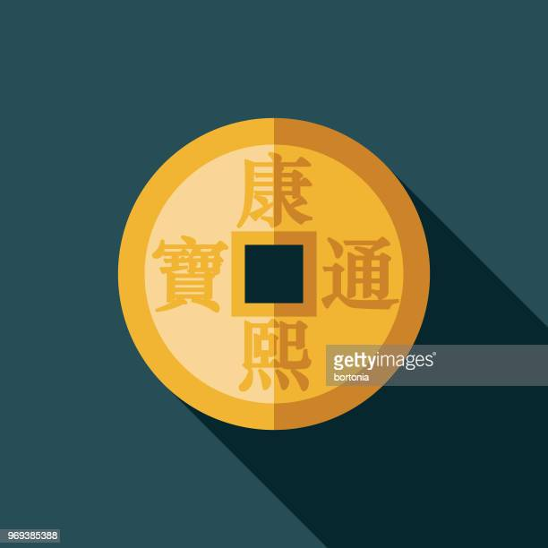 coin flat design chinese new year icon - chinese currency stock illustrations
