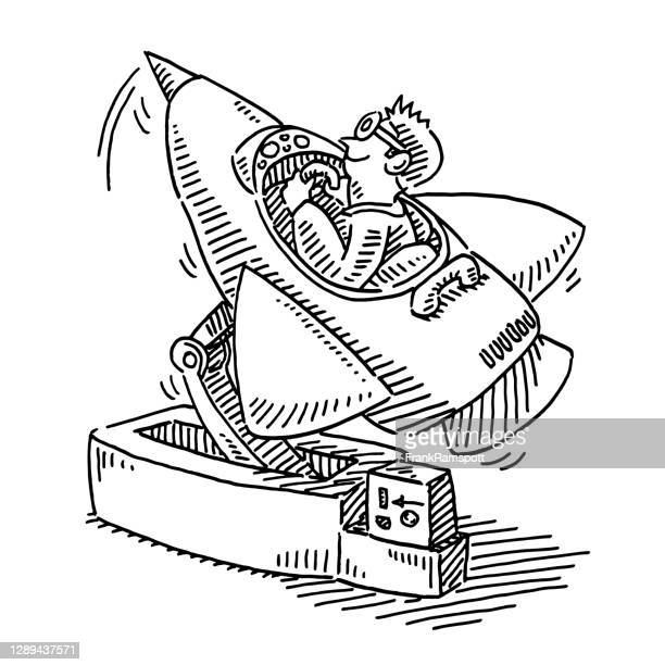coin operated ride spaceship drawing - frankramspott stock illustrations