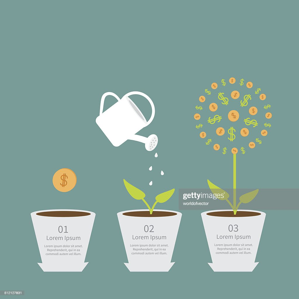 Coin seed watering can dollar plant Financial growth concept. Flat