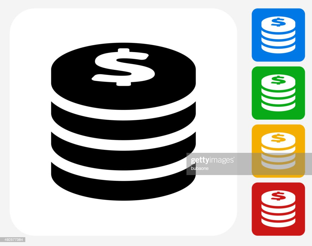Coin Stack Icon Flat Graphic Design
